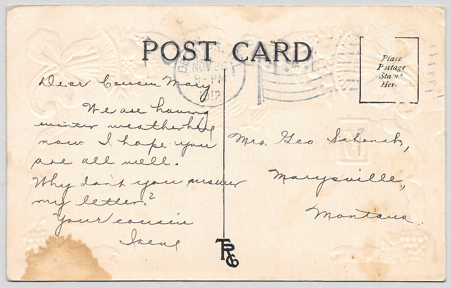 Back of vintage postcard, circa 1912